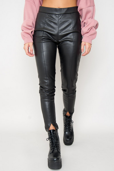 Faux Leather Pants W Slits - CeCe