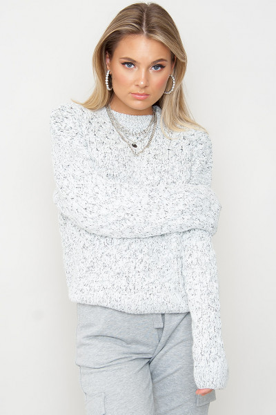 Grey Melange Knitted Sweater - Skye