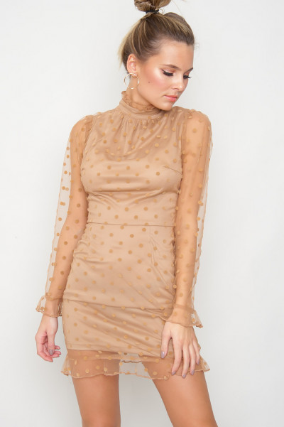 Polka Dot Mesh Dress - Paline Camel
