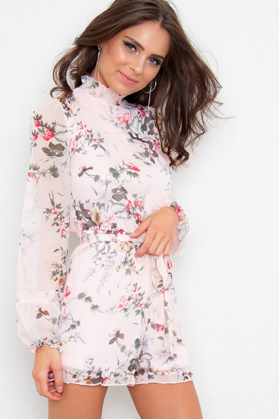 High Neck Floral Playsuit - Jayne