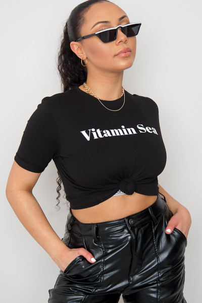 Vitamin Sea Crop Top Black