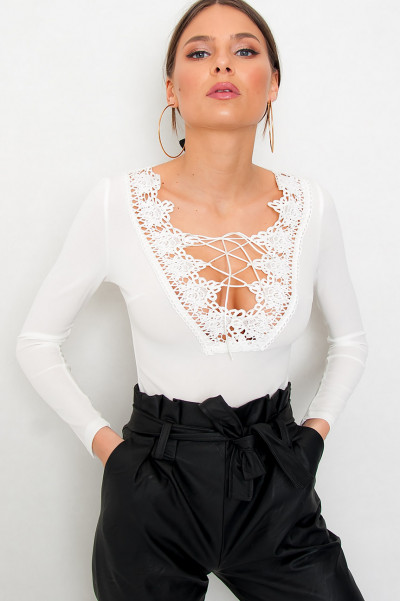 Lace Up Crochet Bodysuit - Slayin