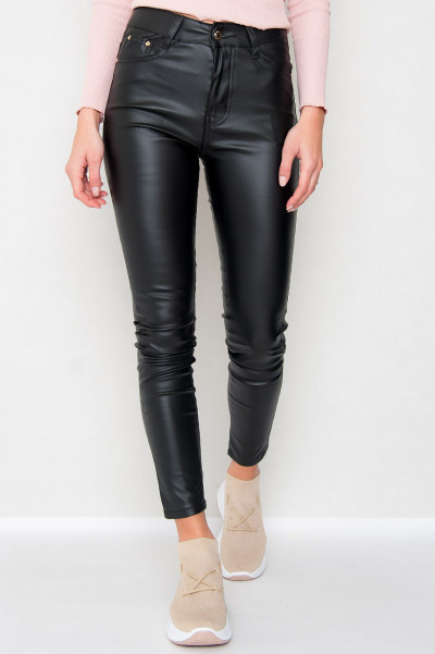 High Waist Faux Leather Pants - Babe Score