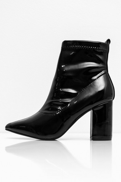 Wet Look Heel Boots - Empire