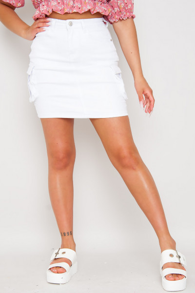 Denim Cargo Skirt White