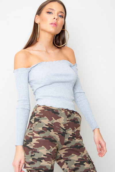 Frilled Off Shoulder Top - Keye Grey