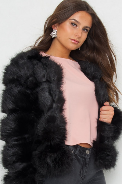 Hot As Faux Fur Jacka - Svart