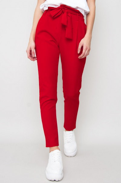 High Waist Trousers - Ties Röd
