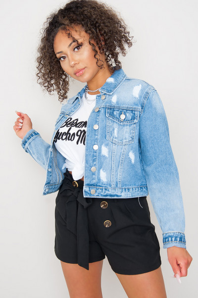 Ripped Denim Jacket - Bring It