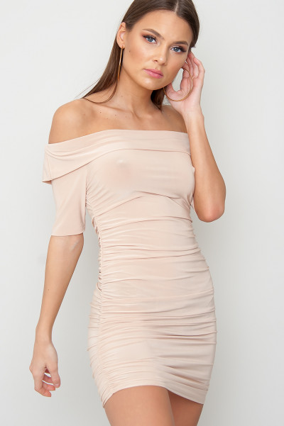 Tight Off Shoulder Klänning - Bibi Beige