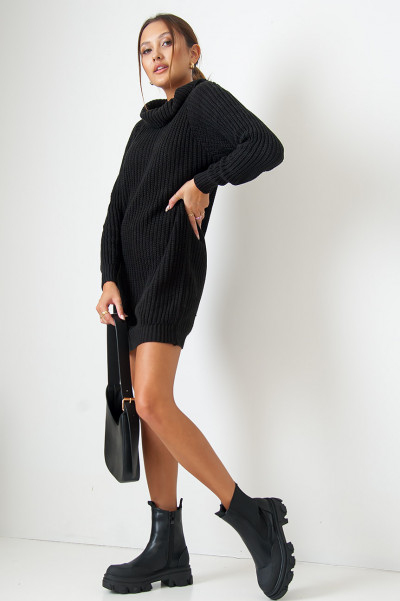 My Way Out Black Knitted Dress